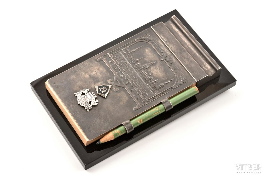 "notebook with pencil, silver, 875 standart, ""Riga"", the 30ties of 20th cent., Latvia, 17.1 x 10.4 cm"