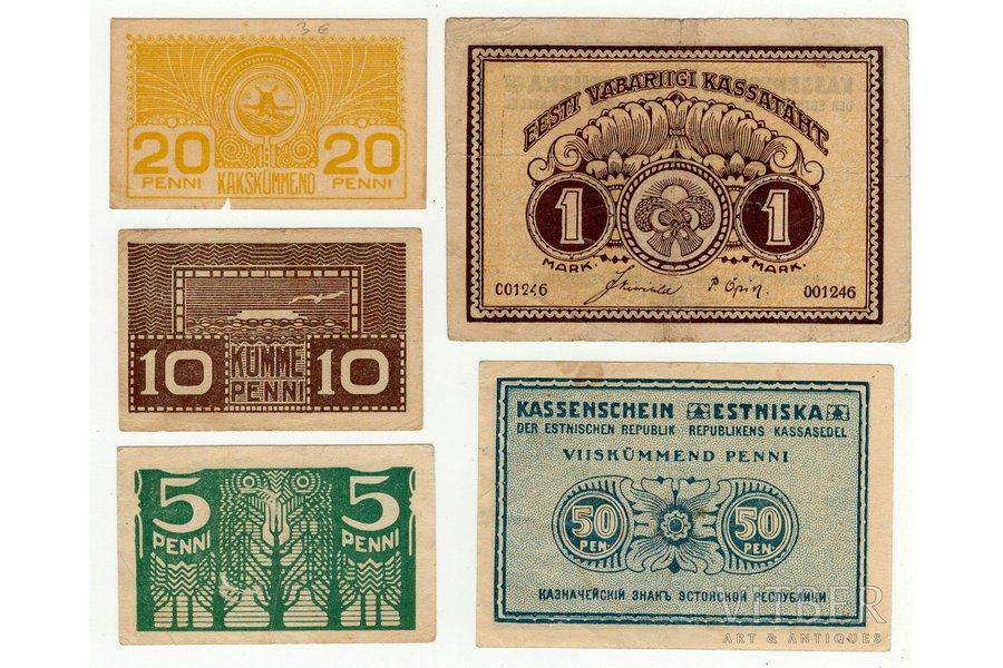 a set, banknote, 1919, Estonia