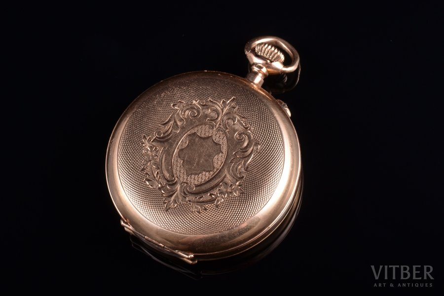 pocket watch, movement duration 2.5 hours, Russia, Switzerland, gold, 56, 585 standart, 24.46 g, 3.9 x 3.2 cm, 32 mm, in working condition
