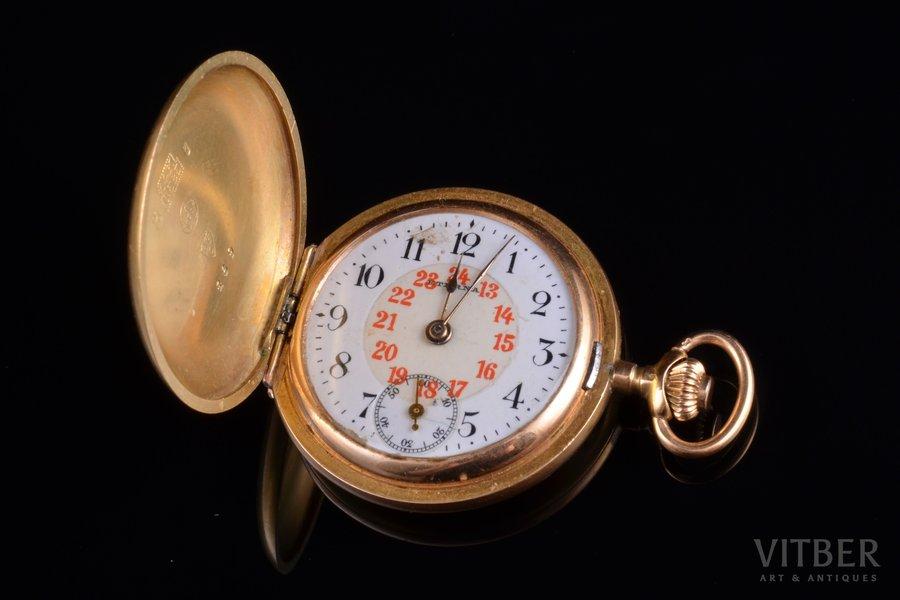 pocket watch, Switzerland, gold, 585, 14 K standart, 25.57 g, 3.9 x 3.1 cm, 31 mm