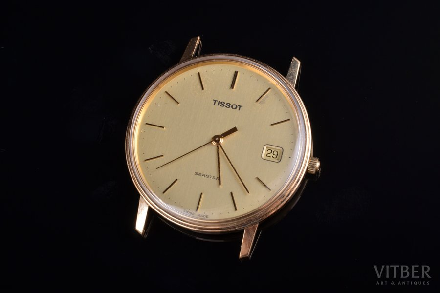 "wristwatch, ""Tissot"", quartz, Switzerland, gold, 19.90 g, 33.7 mm"