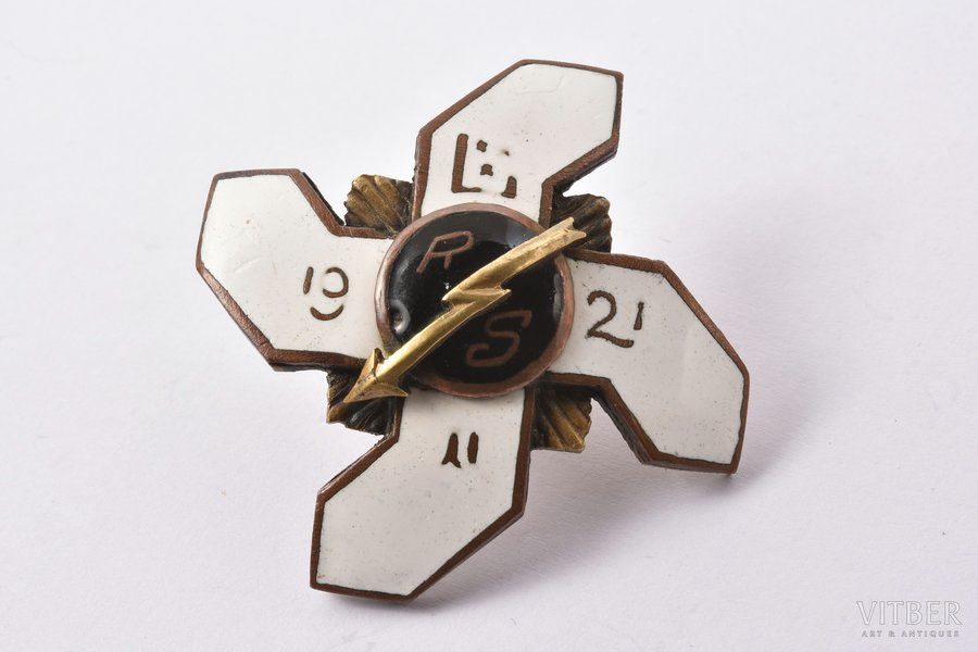 badge, Radio-telegraph courses, bronze, Latvia, 1921, 43 x 43.6 mm