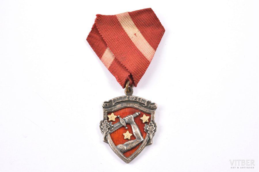 badge, in commemoration of the Latvian War of Independence (1918-1920), Latvia, 20ies of 20th cent., 3.9 x 28.3 mm, К.Wihtolin's workshop