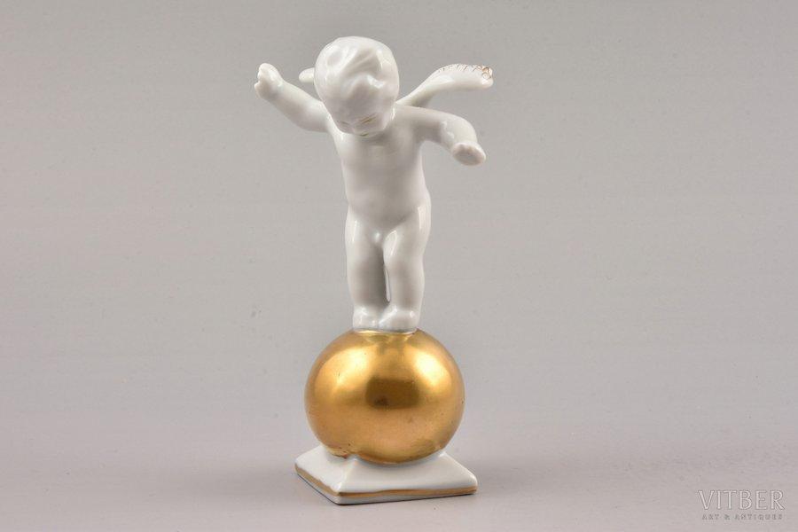 figurine, angel on a gold ball, porcelain, Riga (Latvia), M.S. Kuznetsov manufactory, 1937-1940, first grade