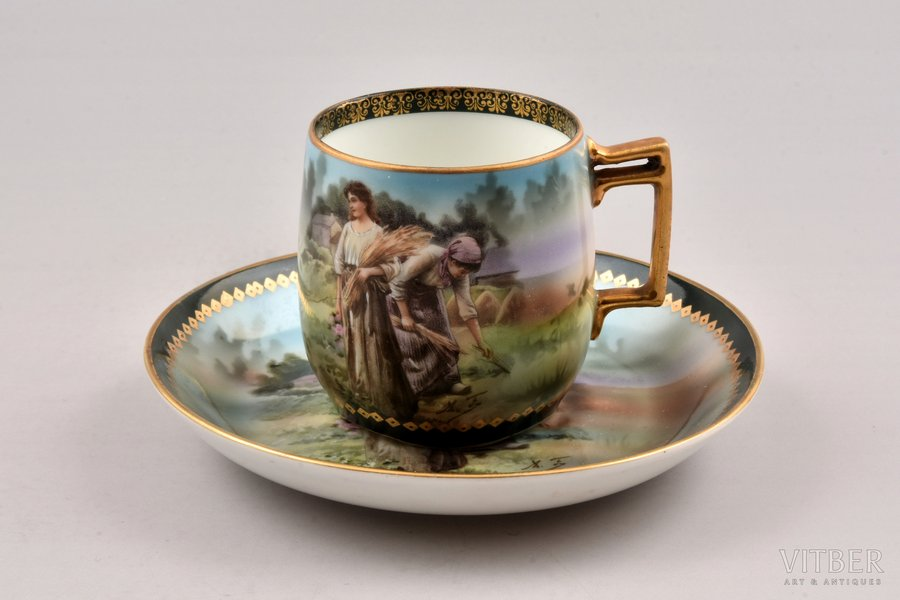 coffee steam, porcelain, M.S. Kuznetsov manufactory, hand-painted, Russia, the 2nd half of the 19th cent., h (cup) 5.5 cm, Ø (saucer) 11.5 cm