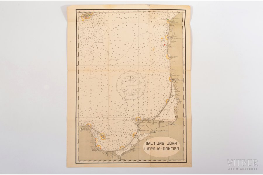 map, Baltic Sea, Liepaja-Danzig, Latvia, 53 x 40.3 cm, small tears on the edges