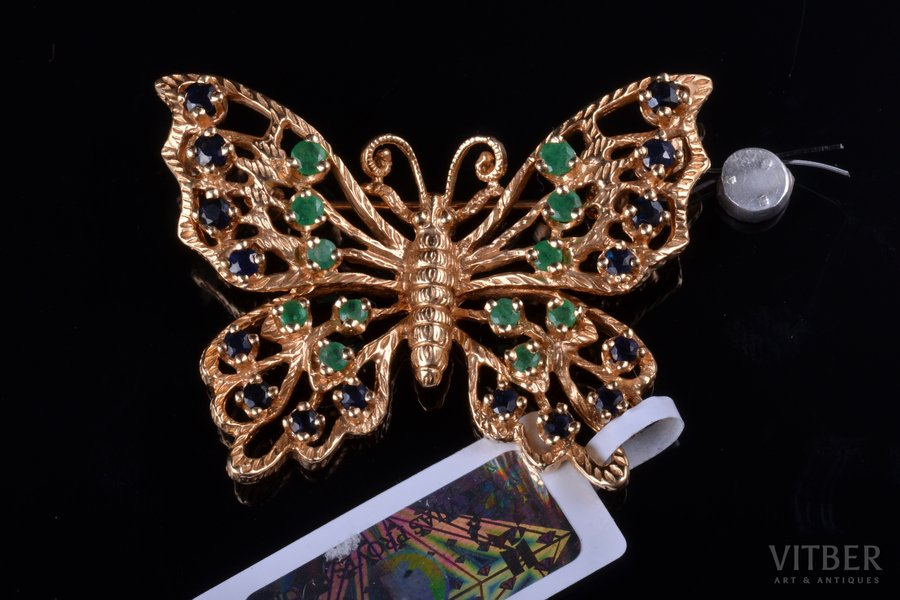 pendant-brooch, gold, 14 К standart, 9.48 g., the item's dimensions 2.9 x 3.9 cm, emerald, sapphire