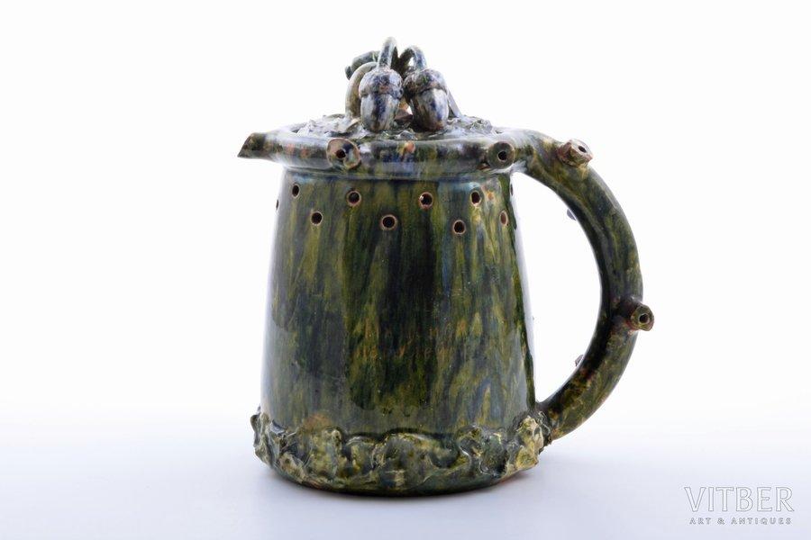"joke mug, ""Get drunk - don't get wet"", ceramics, M.S. Kuznetsov manufactory, Riga (Latvia), the 20ties of 20th cent., h 18.3 cm"