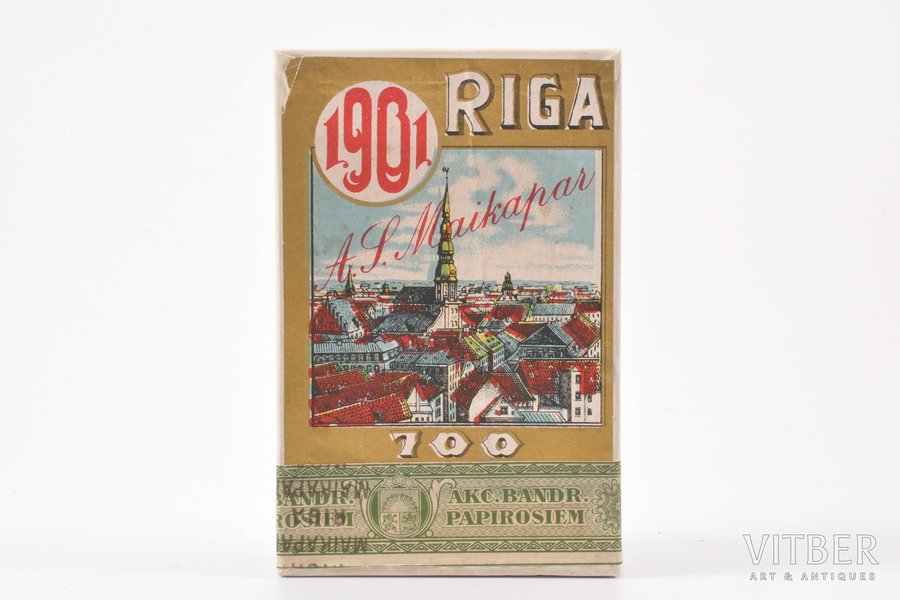 "box, 1st grade cigarettes, ""A.S. Maikapar"" stock company, 700th Anniversary of Rīga, Latvia, the beginning of the 20th cent., 10.4 x 6.8 x 2.3 cm"