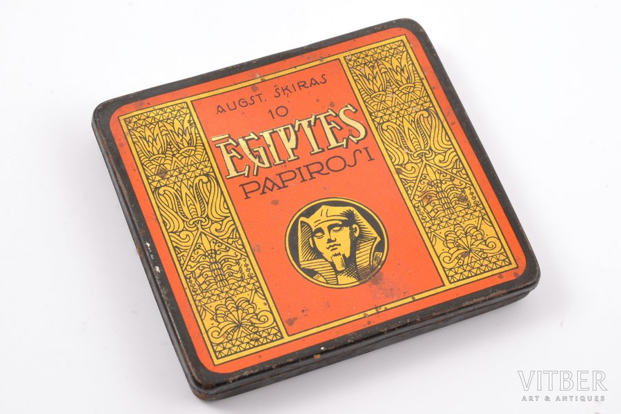 "box, 10 Extra Class ""Ēģiptes"" cigarettes, ""Laferme"" stock company, metal, Latvia, the 20-30ties of 20th cent., 7.5 x 8.4 cm"