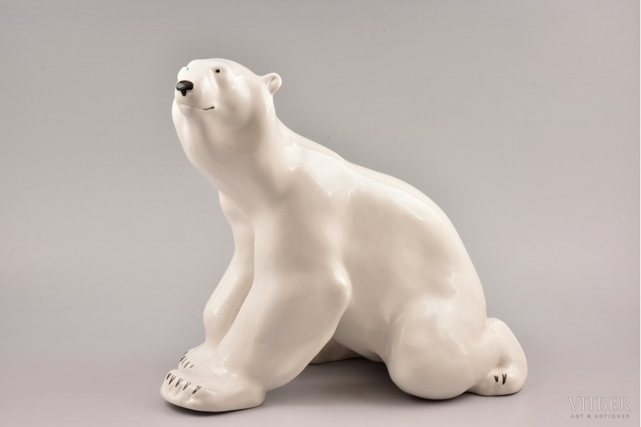 figurine, Polar Bear, USSR, LFZ - Lomonosov porcelain factory, molder - B.Y. Vorobyev, the 60-70ies of 20th cent., h 26 cm