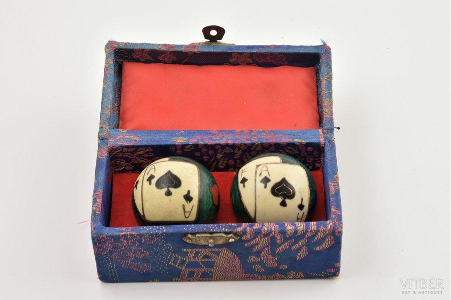 musical balls, metal, enamel cluazone, Ø 4.2 cm, one ball with enamel defect, в коробке