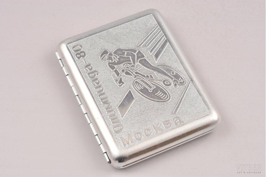 cigarette case, Olympics-80, Moscow, aluminum, USSR, 1980, 10.4 x 8.5 x 1.7 cm
