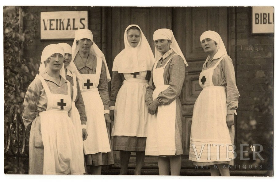 photography, nurses, Latvia, 20-30ties of 20th cent., 8.6 x 13.6 cm