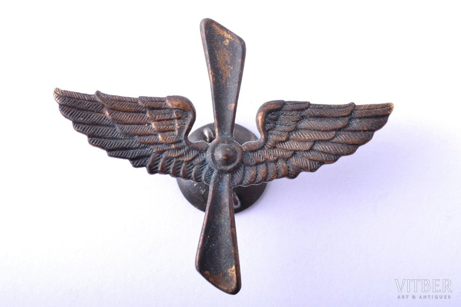 epaulet, gorget patch, Military aviation regiment, bronze, Latvia, 20-30ies of 20th cent., 36 x 44 mm, silver nut