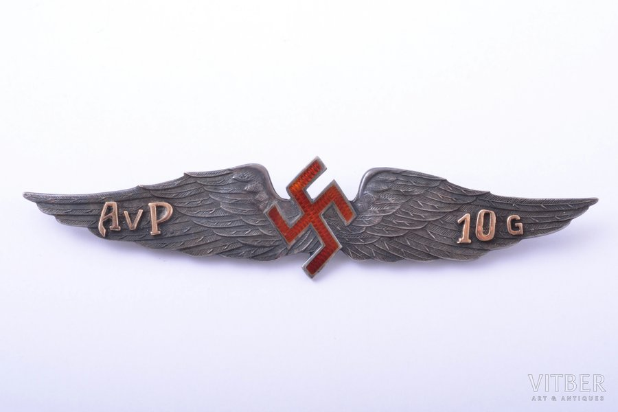 badge, Aviation Regiment, 10 years of service, silver, 875 standart, Latvia, the 30ies of 20th cent., 21.3 x 99.5 mm