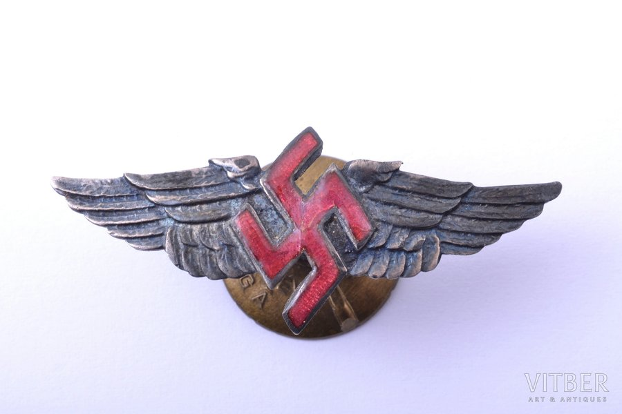 epaulet, gorget patch, Military aviation regiment, silver, enamel, Latvia, 20-30ies of 20th cent., 18.3 x 45 mm