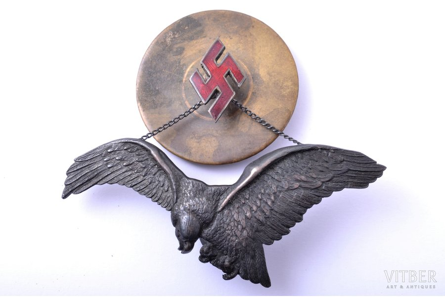 badge, Military aviation regiment (large size), silver, enamel, Latvia, 20-30ies of 20th cent., 30.5 x 75 / 21.1 x 13.1 mm
