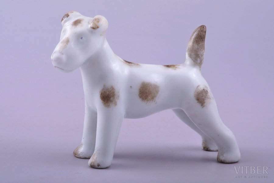 figurine, A Terrier, porcelain, Riga (Latvia), M.S. Kuznetsov manufactory, 1934-1937, h 6.4 cm