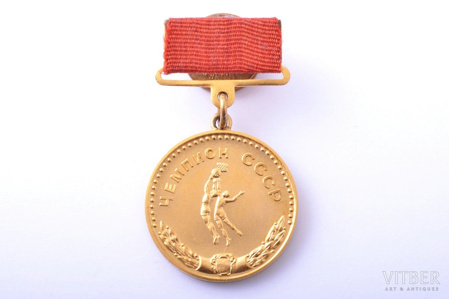 medal, Basketball champion of the USSR, 1st class, gold, USSR, 1955, 32.8 x 29.1 mm