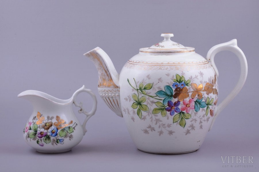 cream jug, teapot, porcelain, M.S. Kuznetsov manufactory, Riga (Latvia), Russia, the border of the 19th and the 20th centuries, h 19.3 / 10 cm, teapot with crack above handle
