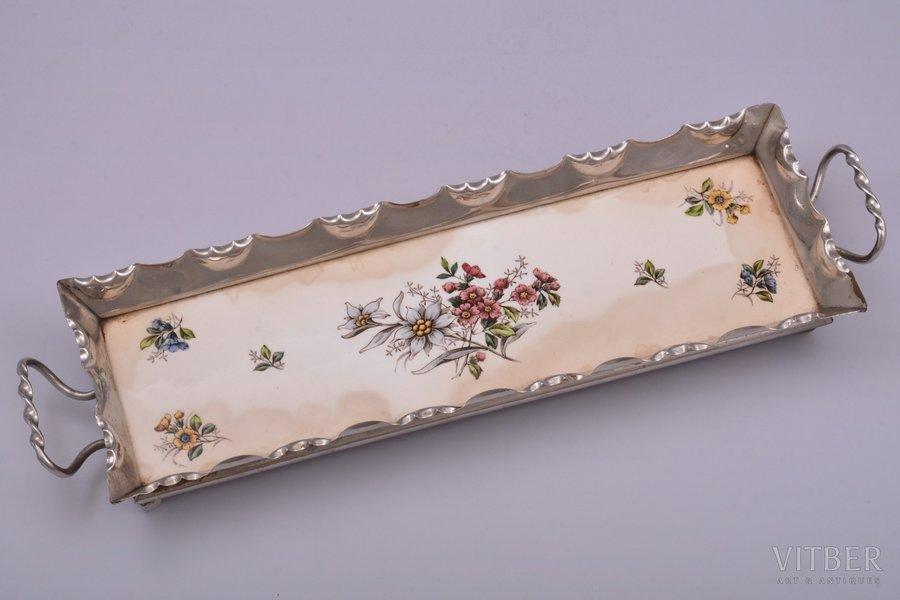 pallet, metal, faience, Max Dannhorn, Germany, 37.6 x 11 cm