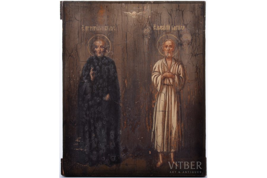 icon, Cyril of Beloozero and Saint Basil the Blessed, board, painting, Russia, 26.5 x 22 x 1.6 cm