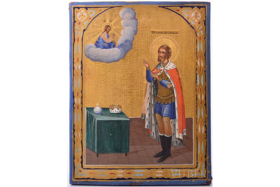 icon, Saint Alexander Nevsky, board, painting, gold leafy, Russia, 22.5 x 17.5 x 1.8 cm