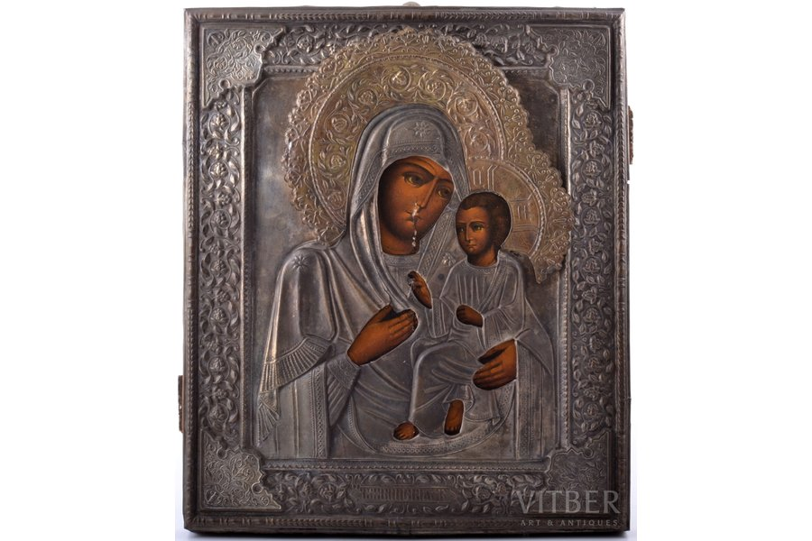 """icon, Tikhvin icon of the Mother of God, board, painting, metal, factory """"Krestyaninov with sons"""", Russia, 30.6 x 26.3 x 2.4 cm"""