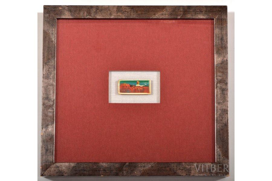 "Zvirbulis Juris (1944), miniature ""Poppy Field"", 2005, ivory, oil, 2.2 x 4.9 cm"