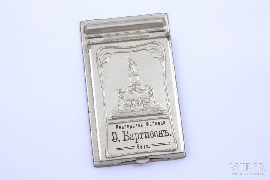 "notebook holder, ""E. Bargisen Cannery"", Riga, metal, Latvia, Russia, the beginning of the 20th cent., 15 x 9 cm"
