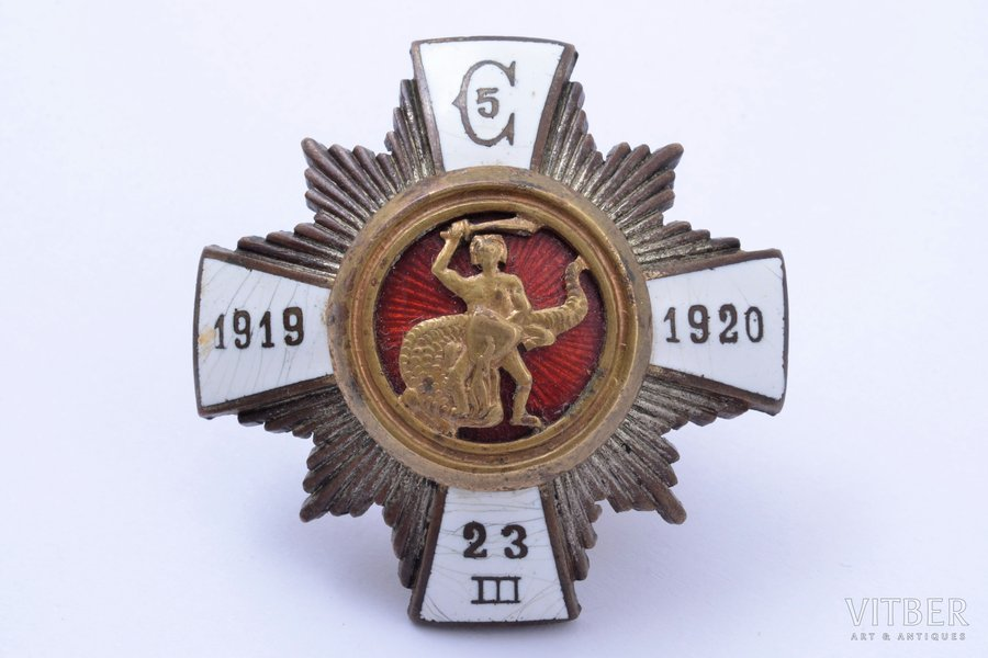 badge, 5th Cesis Infantry Regiment, Latvia, 20-30ies of 20th cent., 46.7 x 46.9 mm