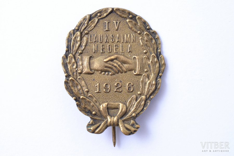 badge, IV Agriculture Week, bronze, Latvia, 1926, 34.8 x 28.4 mm