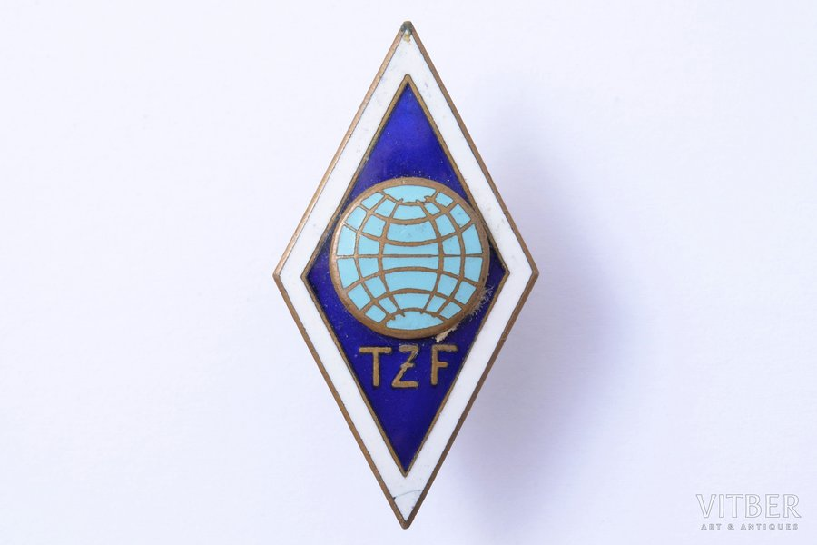 badge, For graduation, TZF, USSR, 42.2 x 22.1 mm