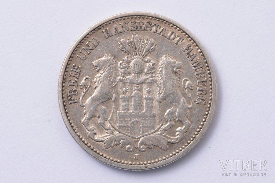 2 marks, 1907, J, Hamburg, silver, Germany, 11.04 g, Ø 28.3 mm, XF, VF