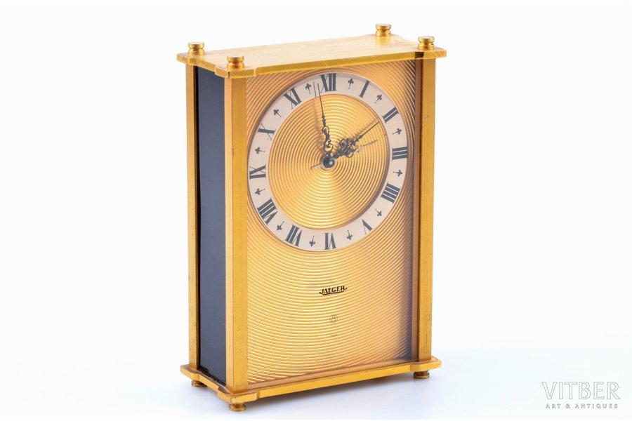 """galda pulkstenis, """"Jaeger"""", Šveice, 12.9 x 8.8 x 4.2 cm, darbojas labi"""