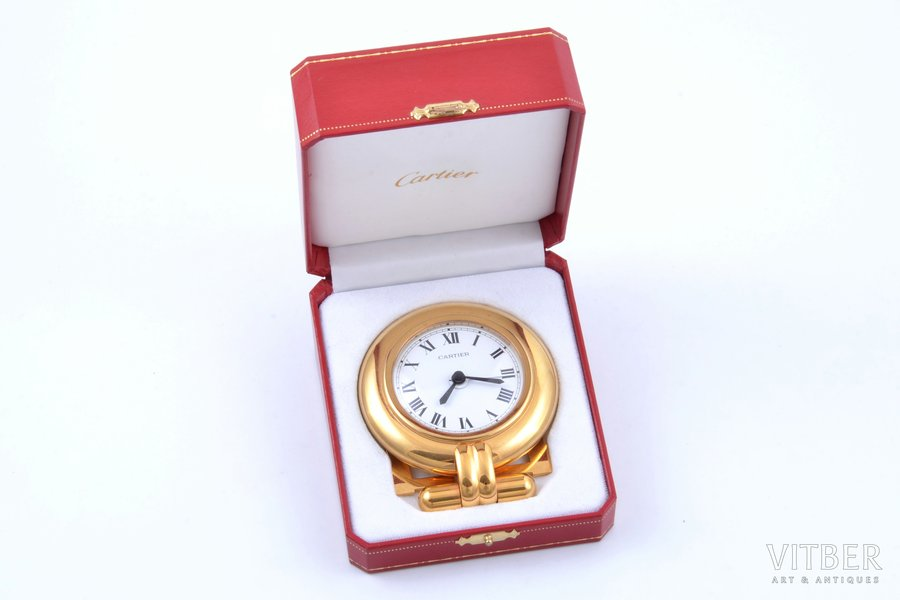 """table clock, """"Cartier"""", Quartz, France, 9.1 x 7.8 cm, 78 mm, in a box, working well, without battery"""