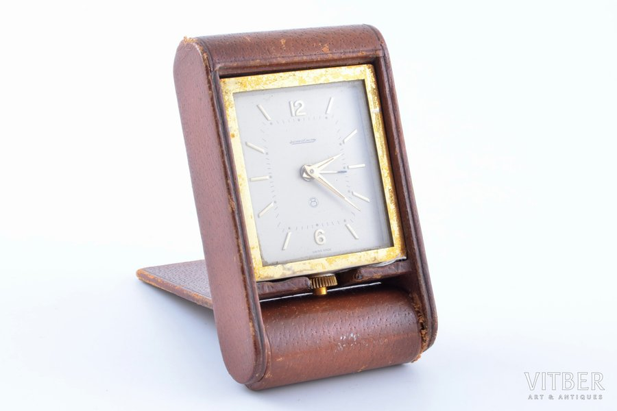 """travel clock, """"Jaeger-LeCoultre"""", Switzerland, 10.6 x 6.4 x 2.4 cm, working well, damaged leather in the corner"""
