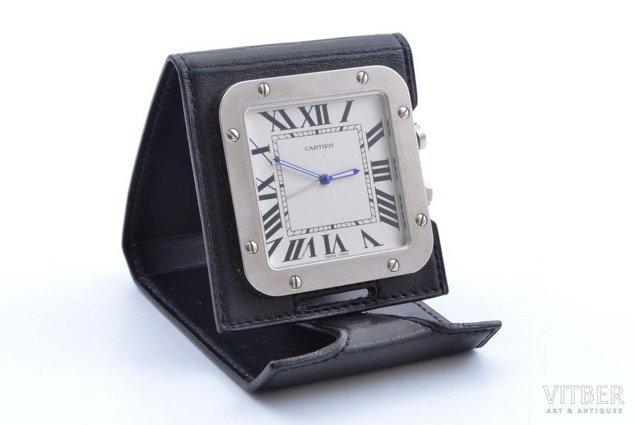 """ceļojuma pulkstenis, """"Cartier"""", Quartz, Šveice, 5.3 x 5.3 cm, ādas futlārī, darbojas labi"""