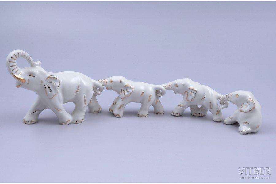 figurine, Elephants, porcelain, Riga (Latvia), USSR, Riga porcelain factory, the 70-80ies of 20th cent., the 40-50ies of 20 cent., the 50-60ies of 20th cent., h 9.1 / 4.5 / 4.4 / 4 cm