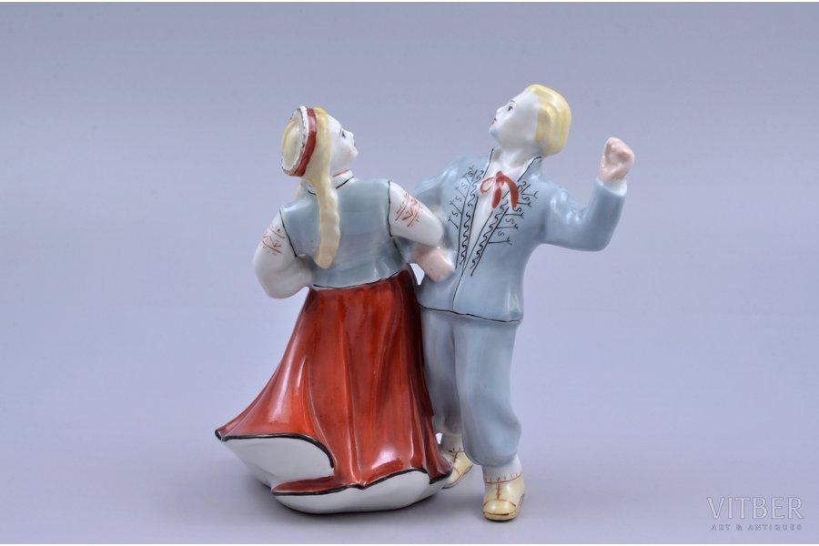 figurine, The Folk Dance, porcelain, Riga (Latvia), USSR, Riga porcelain factory, molder - Ilga Vanaga, 1959, 13.2 cm, first grade