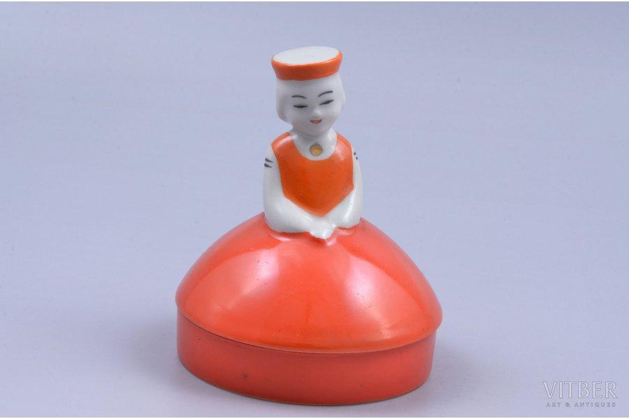 figurine, A girl in traditional costume (case), porcelain, Riga (Latvia), USSR, Riga porcelain factory, 1968-1980, h 9.1 cm, first grade