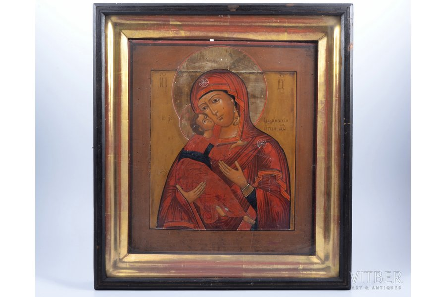 icon, Vladimir icon of the Mother of God, in icon case, board, painting, guilding, Russia, 35 x 30.8 x 2.7 cm, icon case 45 x 41 x 7.7 cm