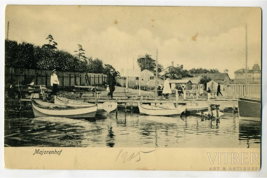 postcard, Rīgas Jūrmala, Majori (Majorenhof), boat dock, Latvia, Russia, beginning of 20th cent., 13,6x8,6 cm