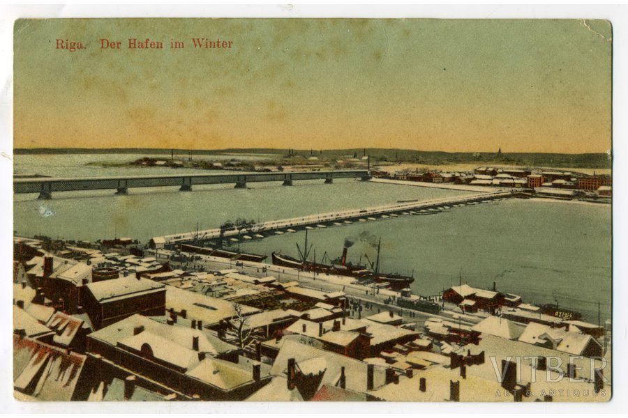 postcard, Riga, Daugava in winter, Latvia, Russia, beginning of 20th cent., 13,8x8,8 cm