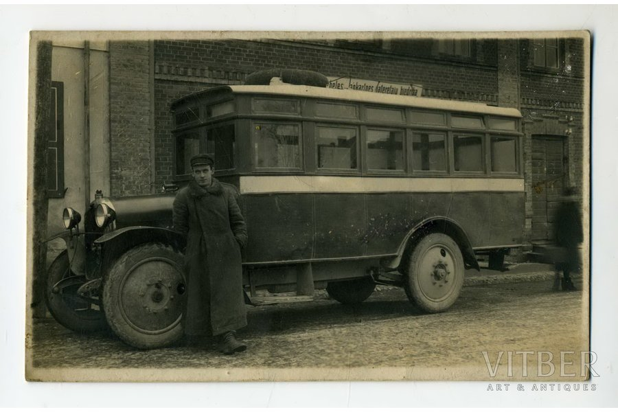 photography, passenger bus, Latvia, 20-30ties of 20th cent., 13,2x8,2 cm