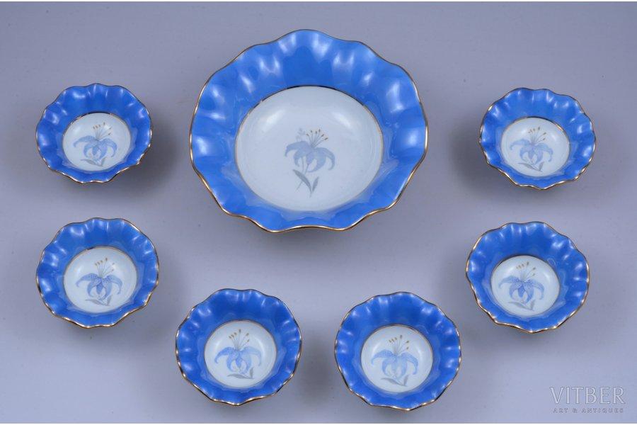 set of 6+1 jam dishes, porcelain, M.S. Kuznetsov manufactory, Riga (Latvia), 1934-1936, Ø 16.1 / 7.9 cm