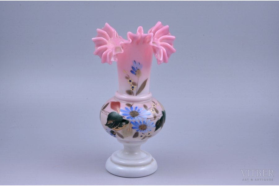 vase, milk glass, hand painted, the beginning of the 20th cent., h 21.6 cm