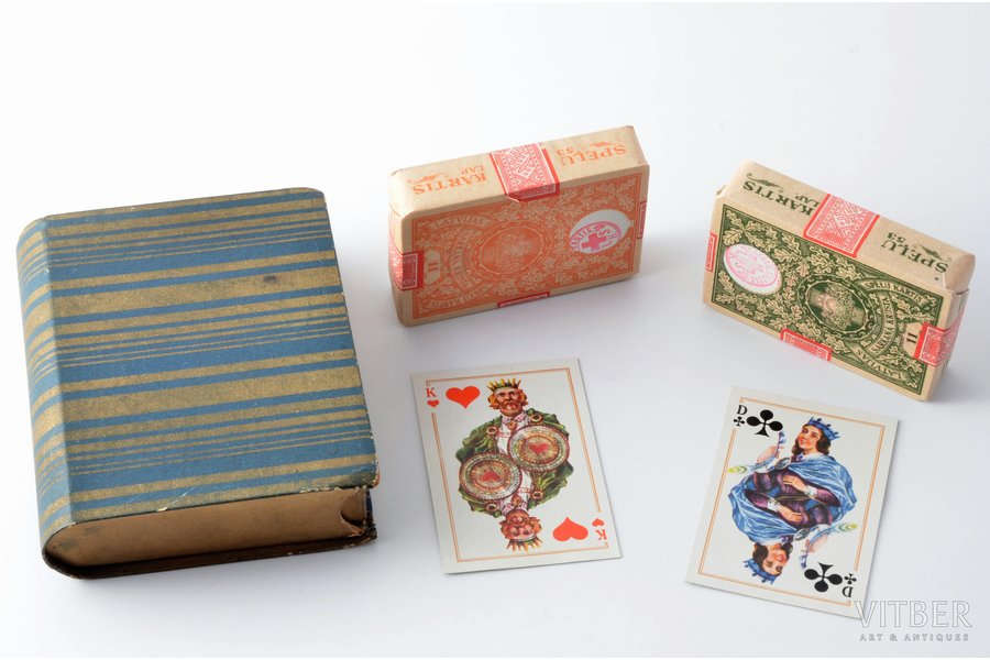 set of solitaire playing cards, 2x53 cards, published by Latvian Red Cross, 20-30ties of 20th cent., in a box, box size 10 x 7.9 x 2.2 cm