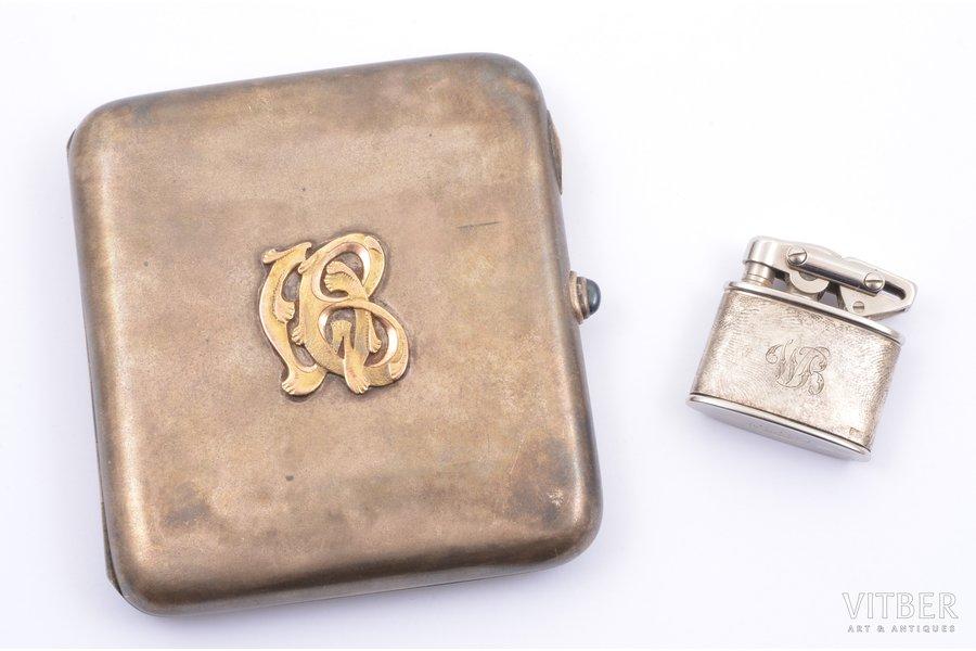 set of cigarette case and lighter, silver, 830 standart, cigarette case with gold monogram, total weight of items 175.65 g, cigarette case141.85 g + lighter 33.80g, Finland, 9.3 x 9 x 1.6 / 3.4 x 3.3 x 1.2 cm